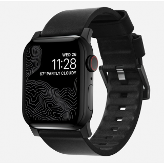 Nomad Active Apple Watch 44mm / 42mm bőr szíj - fekete/fekete