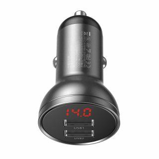 Baseus Digital Display 2xUSB autós töltő adapter 24W