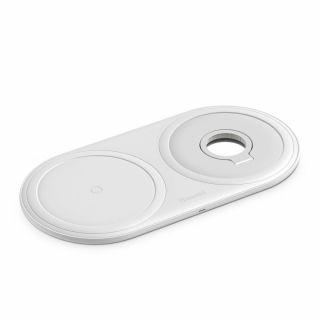 Baseus Planet 2in1 iPhone és Apple Watch Qi vezeték nélküli töltő - fehér