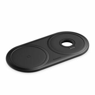 Baseus Planet 2in1 iPhone és Apple Watch Qi vezeték nélküli töltő - fekete