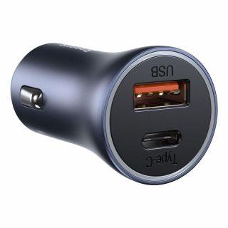 Baseus Powerarc PD40W USB-C és QC3.0 USB-A autós töltő adapter - fekete