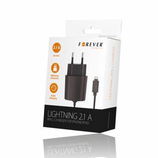 Forever iPhone / iPad Lightning hálózati töltő 2.1A - fekete