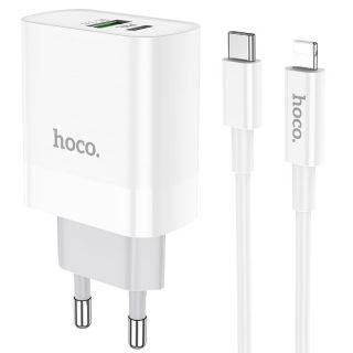 Hoco C80A USB-C + USB-A QC3.0 USB hálózati töltő adapter 20W + USB-C Lightning kábel