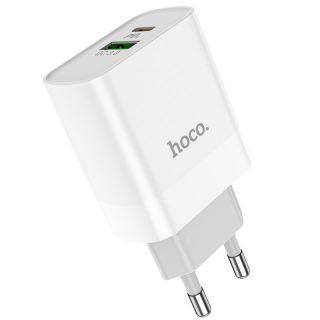 Hoco C80A USB-C + USB-A QC3.0 USB hálózati töltő adapter 20W
