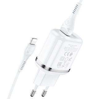 Hoco Dual Ports Set 2xUSB hálózati töltő adapter + Lightning kábel 12W - fehér
