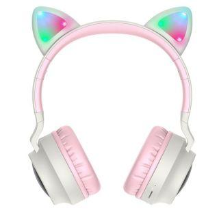 Hoco W27 Cat Ear Bluetooth vezeték nélküli fejhallgató - szürke/rózsaszín