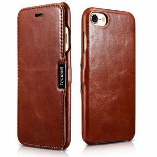iCarer Vintage iPhone SE (2020) / 8 / 7 kinyitható bőr tok - barna