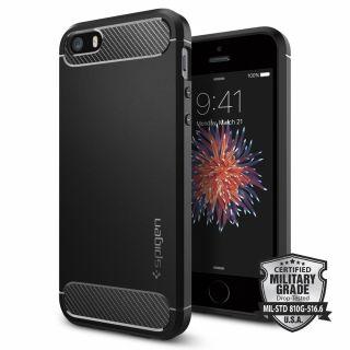 Spigen Rugged Armor iPhone 5 / 5s / SE (2016) tok - fekete