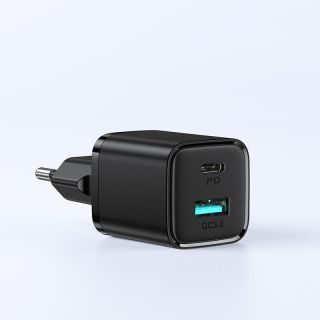 Joyroom L-QP207 USB-A QC3.0 és USB-C PD20W USB hálózati töltő 20W - fekete