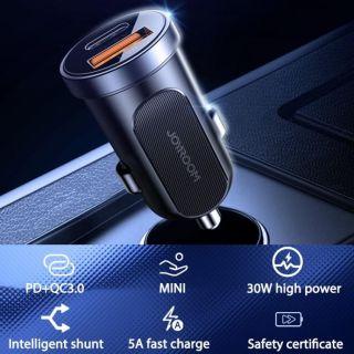 Joyroom Mini USB-C + USB-A QC3.0 autós töltő adapter 30W