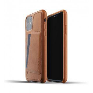 Mujjo Wallet iPhone 11 bankkártyatartós bőr tok - barna