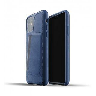 Mujjo Wallet iPhone 11 bankkártyatartós bőr tok - kék