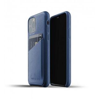 Mujjo Wallet iPhone 11 Pro bankkártyatartós bőr tok - kék