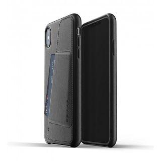 Mujjo Wallet iPhone XS Max bankkártyatartós bőr tok - fekete