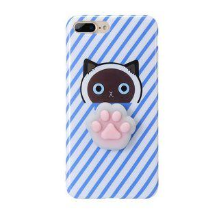 iPhone SE (2020) / 8 / 7 3D pufi tok - kék csíkos cica