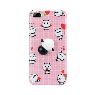 iPhone SE (2020) / 8 / 7 3D pufi tok - rózsaszín panda