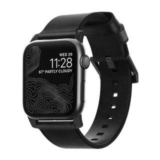 Nomad Modern Apple Watch 44mm / 42mm bőr szíj - fekete/fekete