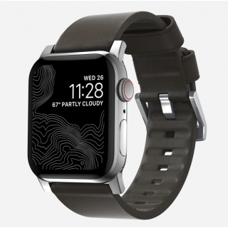 Nomad Active Apple Watch 44mm / 42mm bőr szíj - barna/ezüst