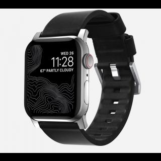 Nomad Active Apple Watch 44mm / 42mm bőr szíj - fekete/ezüst