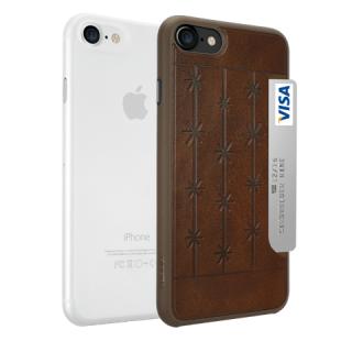 Ozaki O!coat Jelly+Pocket 2 az 1-ben iPhone SE (2020) / 8 / 7 tok - átlátszó+barna