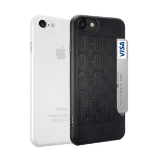 Ozaki O!coat Jelly+Pocket 2 az 1-ben iPhone SE (2020) / 8 / 7 tok - átlátszó+fekete
