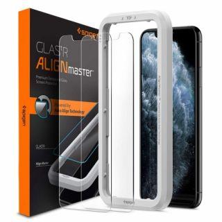 Spigen GLAS.tR AlignMaster iPhone 11 Pro / XS / X kijelzővédő üveg + felhelyező - 2db