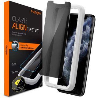 Spigen GLAS.tR AlignMaster Privacy iPhone 11 Pro / XS / X kijelzővédő üveg + felhelyező