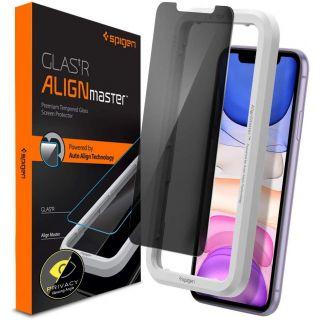 Spigen GLAS.tR AlignMaster Privacy iPhone 11 / XR kijelzővédő üveg + felhelyező