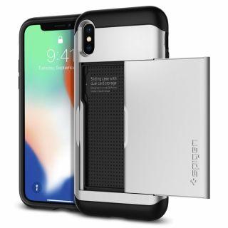 Spigen Slim Armor CS iPhone XS/X tok kártyatartóval - ezüst