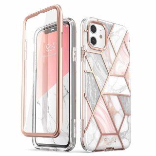 Supcase Cosmo iPhone 11 tok előlappal - rózsaszín márvány