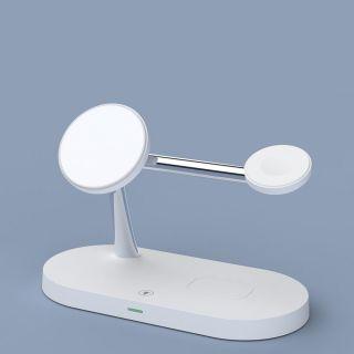 Tech-Protect 3in1 MagSafe iPhone + Apple Watch + AirPods Qi vezeték nélküli töltő állvány - fehér