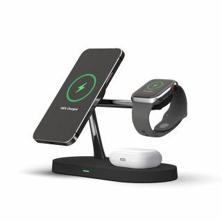 Tech-Protect 3in1 MagSafe iPhone + Apple Watch + AirPods Qi vezeték nélküli töltő állvány - fekete