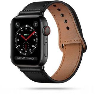 Tech-Protect Leatherfit Apple Watch 44mm / 42mm bőr szíj - fekete