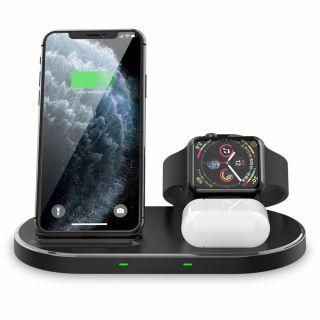 Tech-Protect W55 3in1 iPhone + Apple Watch + AirPods Qi vezeték nélküli töltő állvány