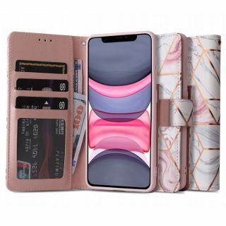 Tech-Protect Wallet iPhone 11 kinyitható bőr tok - rózsaszín